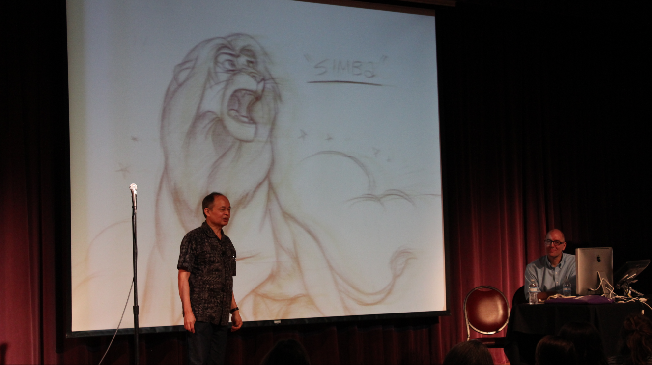 Ruben Aquino talks about adult Simba from Disney's 'The Lion King.' Seated Tom Brancoft