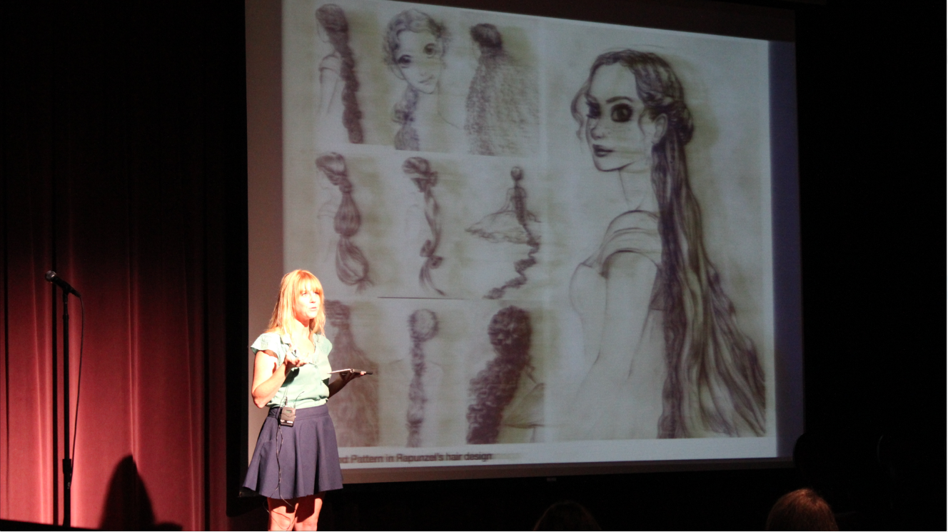 As one of the only women on the Visual Development Team for Disney's Tangled, she was the hair and dress expert.
