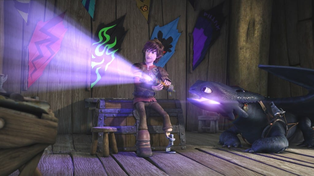Hiccup and Toothless experimenting with the effects of dragon fire on the Dragon Eye's inner lenses.
