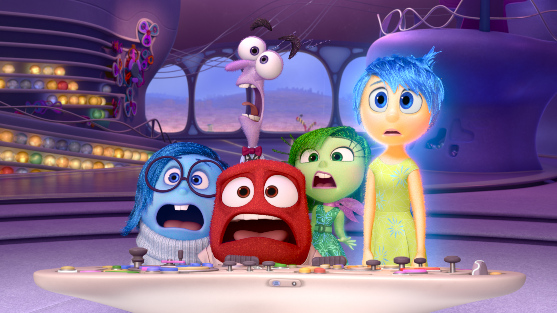 Pictured (L-R): Sadness, Fear, Anger, Disgust, Joy. ?2015 Disney?Pixar. All Rights Reserved.