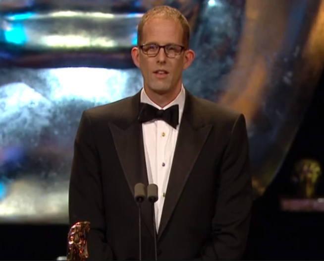 'Inside Out' director, Pete Docter, accepting BAFTA for Best Animated Film.