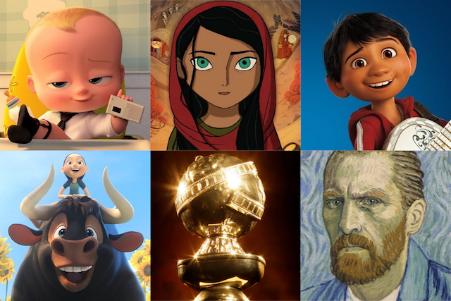 Nominations for Best Animated Film at 75th Golden Globe Awards: 'The Boss Baby', 'The Breadwinner', 'Coco', 'Ferdinand', 'Loving Vincent'.