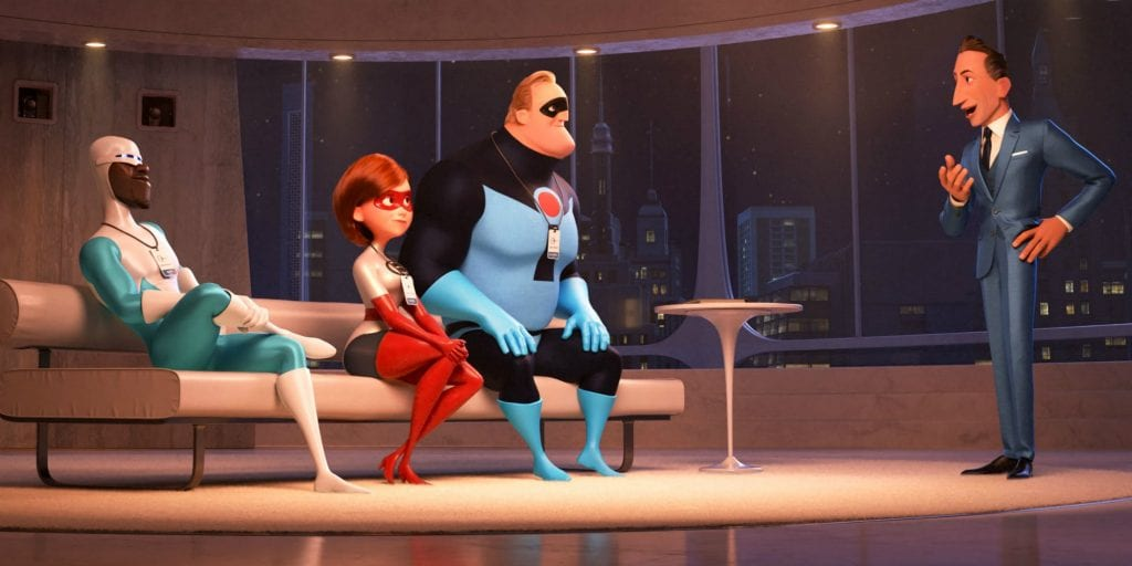 Screenshot from Incredibles 2 featuring Frozone, Elastigirl, Mr. Incredible, and Winston