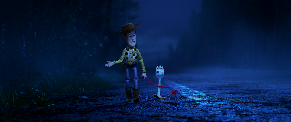 Toy-Story-4-woody-forky-walking-on-road